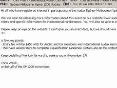 シドニー・メルボルン SM1200は11月に開催